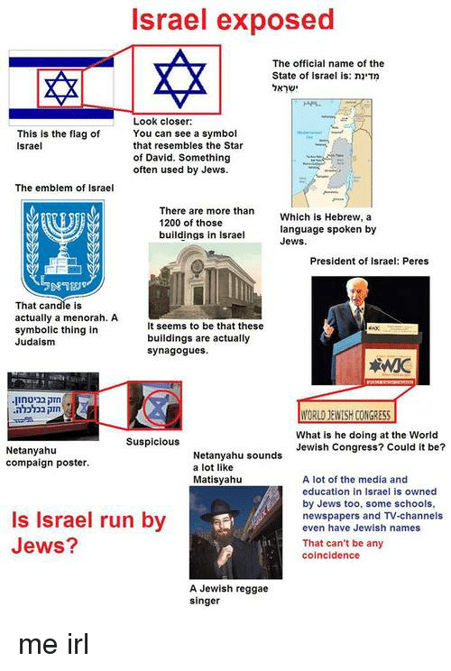 Reggae, Run, and Israel: Israel exposed  The official name of the  State of Israel is: nn  Look closer  You can see a symbol  that resembles the Star  of David. Something  often used by Jews.  This is the flag of  Israel  The emblem of Israel  There are more than  1200 of those  buildings in Israel  Which is Hebrew, a  language spoken by  Jews  President of Israel: Peres  That candle is  actually a menorah. A  symbolic thing in  Judaism  It seems to be that these  buildings are actually  synagogues.  What is he doing at the World  Jewish Congress? Could t be?  Suspicious  Netanyahtu  compaign poster.  Netanyahu sounds  a lot like  Matisyahu  A lot of the media and  education in Israel is owned  by Jews too, some schools,  newspapers and Tv-channels  even have Jewish names  Is Israel run by  Jews?  That can't be any  coincidence  A Jewish reggae  singer me irl