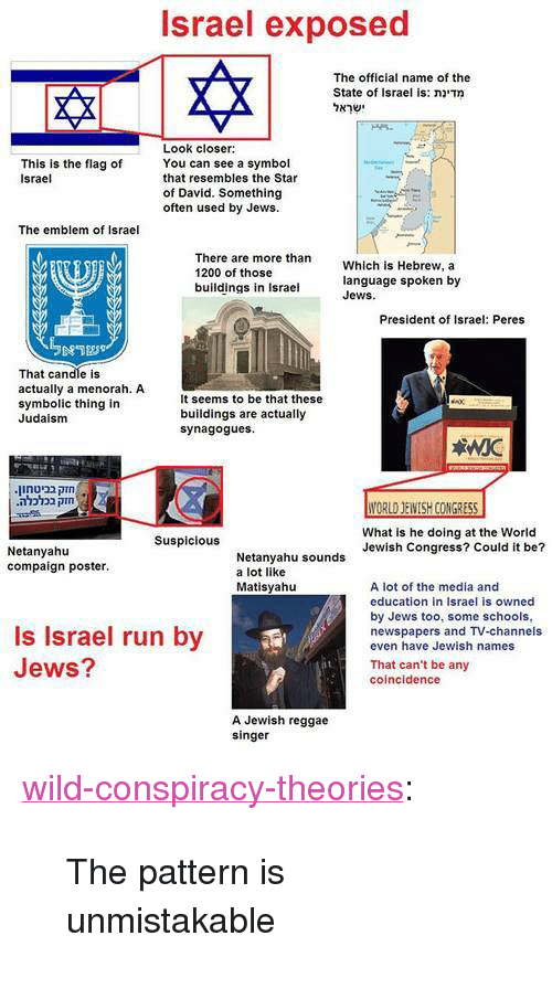 """Reggae, Run, and Tumblr: Israel exposed  The official name of the  State of Israel is: מדינת  ישראל  Look closer:  You can see a symbol  This is the flag of  Israel  that resembles the Star  of David. Something  often used by Jews.  The emblem of Israel  There are more than  1200 of those  buildings in Israel  Which is Hebrew, a  language spoken by  Jews.  President of Israel: Peres  That candle is  actually a menorah. A  symbolic thing in  Judaism  It seems to be that these  buildings are actually  synagogues  .בביטחוןחזק  .בכלכלהחזק  What is he doing at the World  Jewish Congress? Could it be?  Suspicious  Netanyahtu  compaign poster.  Netanyahu sounds  a lot like  Matisyahu  A lot of the media and  education in Israel is owned  by Jews too, some schools,  newspapers and Tv-channels  even have Jewish names  Is Israel run by  Jews?  That can't be any  coincidence  A Jewish reggae  singer <p><a href=""""http://wild-conspiracy-theories.tumblr.com/post/111170332547/the-pattern-is-unmistakable"""" class=""""tumblr_blog"""">wild-conspiracy-theories</a>:</p><blockquote><p>The pattern is unmistakable</p></blockquote>"""