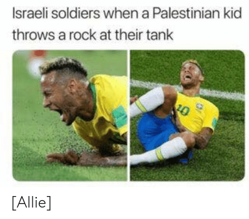 Soldiers, Israeli, and Tank: Israeli soldiers when a Palestinian kid  throws a rock at their tank  10 [Allie]