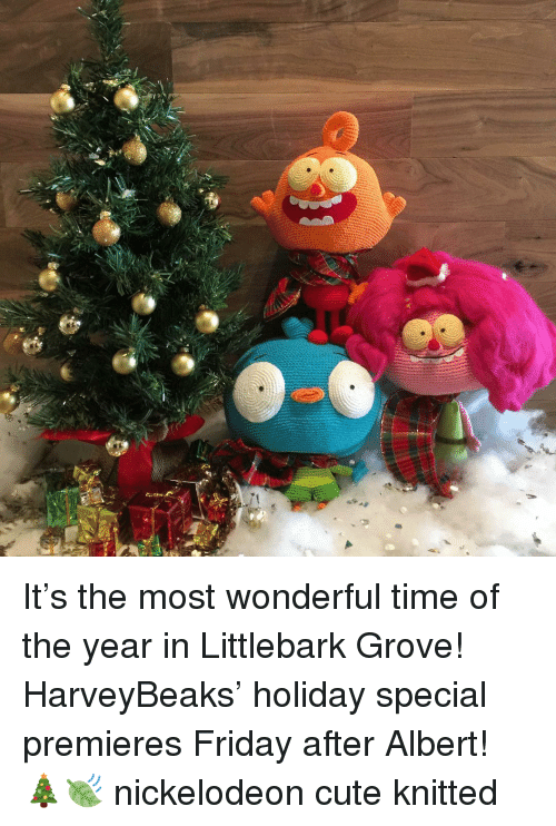it's the most wonderful time of the year: It's the most wonderful time of the year in Littlebark Grove! HarveyBeaks' holiday special premieres Friday after Albert! 🎄🍃 nickelodeon cute knitted