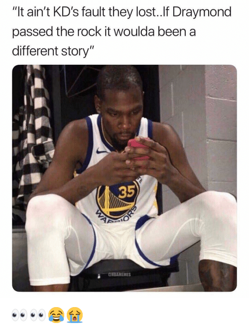 "Nba, The Rock, and Lost: ""It ain't KD's fault they lost.If Draymond  passed the rock it woulda beena  different story""  35  2  ONBAMEMES 👀👀😂😭"