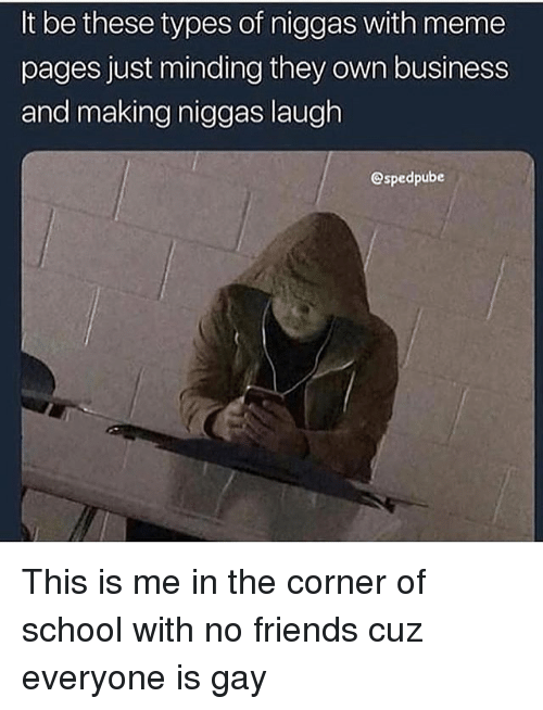 Friends, Meme, and School: It be these types of niggas with meme  pages just minding they own business  and making niggas laugh  @spedpube This is me in the corner of school with no friends cuz everyone is gay