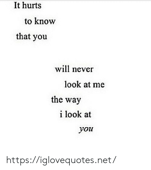 Never, Net, and You: It hurts  to know  that you  wil never  look at me  the way  i look at  you https://iglovequotes.net/