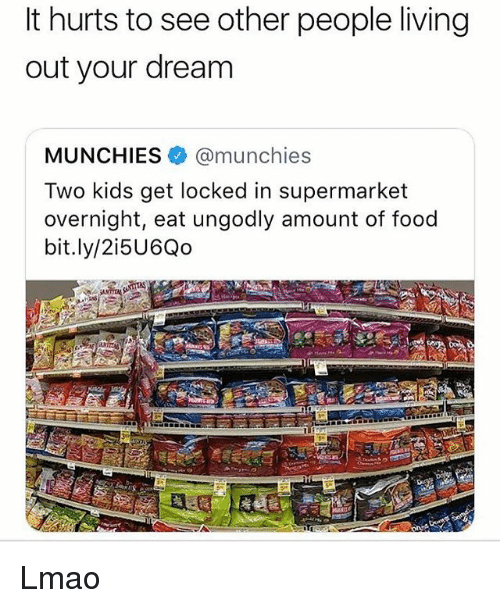 Food, Lmao, and Memes: It hurts to see other people living  out your dream  MUNCHIES @munchies  Two kids get locked in supermarket  overnight, eat ungodly amount of food  bit.ly/2i5U6Qo Lmao