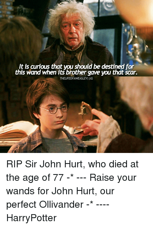 ollivander: It is curious that wou should be destined for  this wand when its brother gave you that Scar.  THELIFEOFAWEASLEYI IIG RIP Sir John Hurt, who died at the age of 77 -* --- Raise your wands for John Hurt, our perfect Ollivander -* ---- HarryPotter