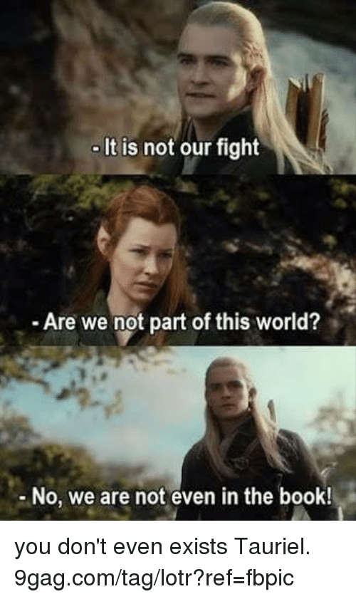 9gag, Dank, and Book: It is not our fight  Are we not part of this world?  - No, we are not even in the book! you don't even exists Tauriel. 9gag.com/tag/lotr?ref=fbpic