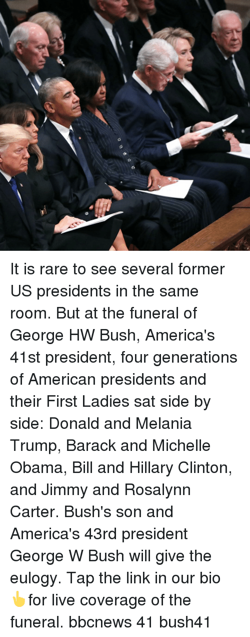 Bbcnews: It is rare to see several former US presidents in the same room. But at the funeral of George HW Bush, America's 41st president, four generations of American presidents and their First Ladies sat side by side: Donald and Melania Trump, Barack and Michelle Obama, Bill and Hillary Clinton, and Jimmy and Rosalynn Carter. Bush's son and America's 43rd president George W Bush will give the eulogy. Tap the link in our bio 👆for live coverage of the funeral. bbcnews 41 bush41