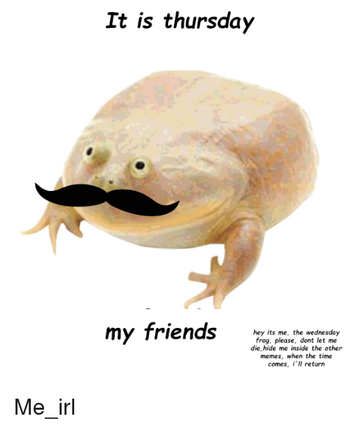 Friends, Memes, and Time: It is thursday  my friends  hey its me, the wednesday  frog, please, dont let me  die, hide me inside the other  memes, when the time  comes, iIl return