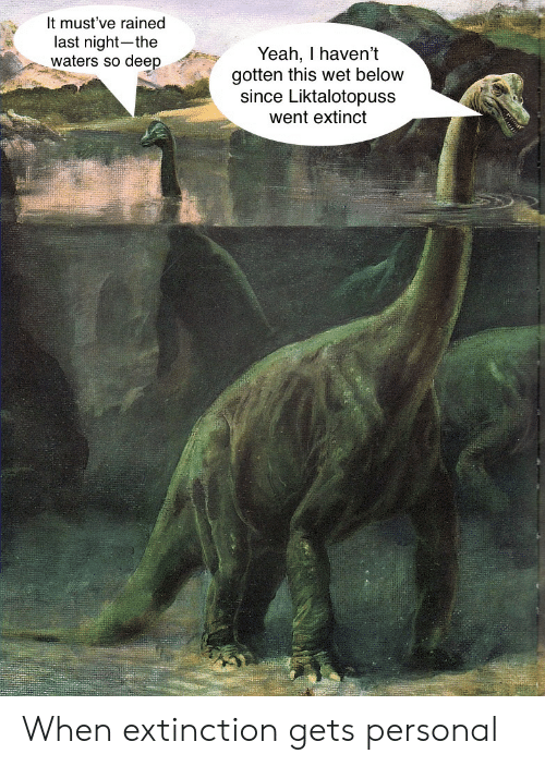 Extinct: It must've rained  last night-the  waters so deep  Yeah, I haven't  gotten this wet below  since Liktalotopuss  went extinct When extinction gets personal