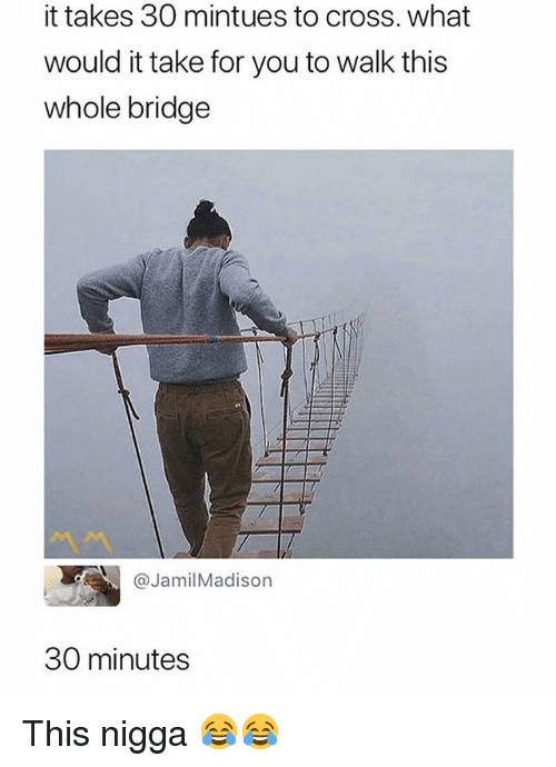 Funny, Cross, and Bridge: it takes 30 mintues to cross. what  would it take for you to walk this  whole bridge  @JamilMadison  30 minutes This nigga 😂😂