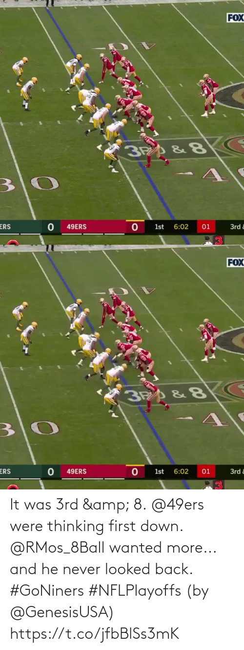 Looked: It was 3rd & 8. @49ers were thinking first down.  @RMos_8Ball wanted more... and he never looked back. #GoNiners #NFLPlayoffs  (by @GenesisUSA) https://t.co/jfbBlSs3mK