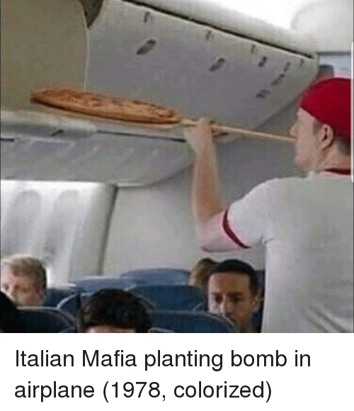 Airplane, Mafia, and Italian: Italian Mafia planting bomb in airplane (1978, colorized)