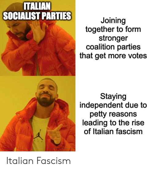 Petty, History, and Socialist: ITALIAN  SOCIALIST PARTIES  Joining  together to form  stronger  coalition parties  that get more votes  Staying  independent due to  petty reasons  leading to the rise  of Italian fascism  A Italian Fascism