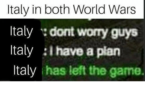 i have a plan: Italy in both World Wars  Italy dont worry guys  Italy I have a plan  Italy has left the game.