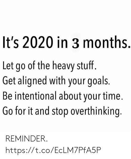 Goals, Memes, and Stuff: It's 2020 in 3 months.  Let go of the heavy stuff.  Get aligned with your goals.  Be intentional about your time.  Go for it and stop overthinking. REMINDER. https://t.co/EcLM7PfA5P