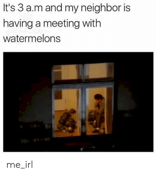 Irl, Me IRL, and A&m: It's 3 a.m and my neighbor is  having a meeting with  watermelons me_irl
