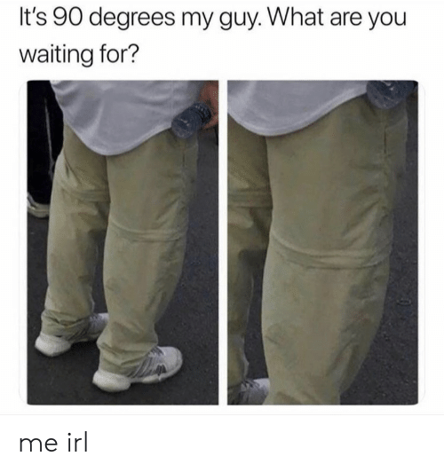 Waiting..., Irl, and Me IRL: It's 90 degrees my guy. What are you  waiting for? me irl