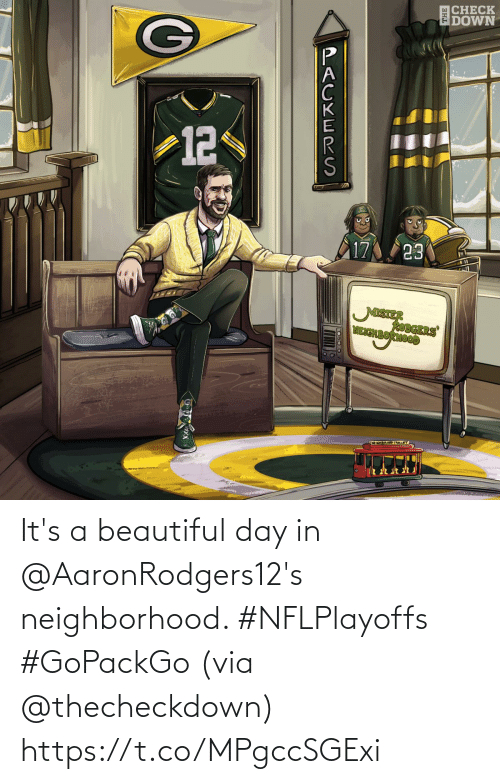 Its: It's a beautiful day in @AaronRodgers12's neighborhood. #NFLPlayoffs #GoPackGo  (via @thecheckdown) https://t.co/MPgccSGExi