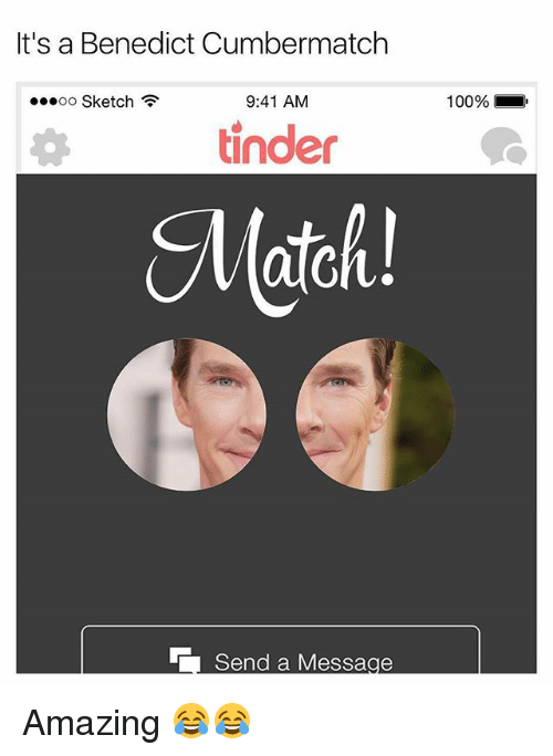 Anaconda, Memes, and Match: It's a Benedict Cumbermatch  oo Sketch  9:41 AM  100%.  tinde  Match! Amazing 😂😂