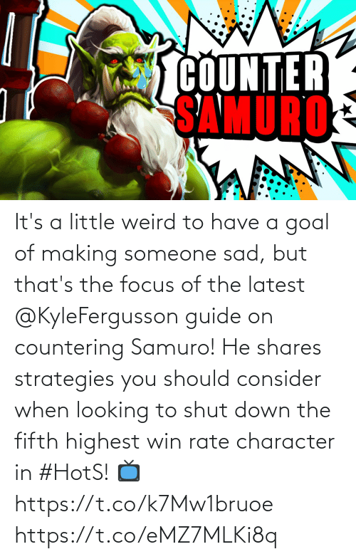 Goal: It's a little weird to have a goal of making someone sad, but that's the focus of the latest @KyleFergusson guide on countering Samuro!  He shares strategies you should consider when looking to shut down the fifth highest win rate character in #HotS!  📺https://t.co/k7Mw1bruoe https://t.co/eMZ7MLKi8q