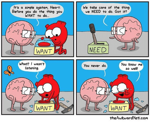 Memes, Heart, and Never: It's a simple system, Heart:  Before you do the thing you  WANT to do...  We take care of the thing  we NEED to do. Got it?  N)  L  WANT  NEED  What? I wasn't  listening  You know me  so well  You never do.  I WANT  I WANT  theAwkwardYeti.com