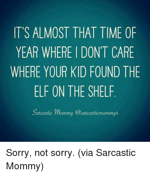 Dank, Elf, and Elf on the Shelf: IT'S ALMOST THAT TIME OF  YEAR WHERE I DONT CARE  WHERE YOUR KID FOUND THE  ELF ON THE SHELF  arcastic mommu @sarcasticmommyt Sorry, not sorry.  (via Sarcastic Mommy)