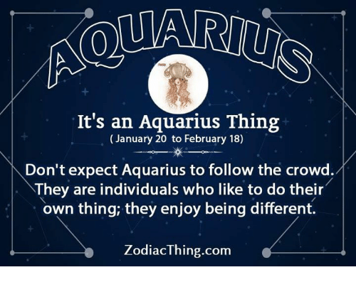 Aquarius, Com, and Who: It's an Aquarius Thing  (January 20 to February 18)  Don't expect Aquarius to follow the crowd.イ  They are individuals who like to do their  own thing; they enjoy being different.  ZodiacThing.com
