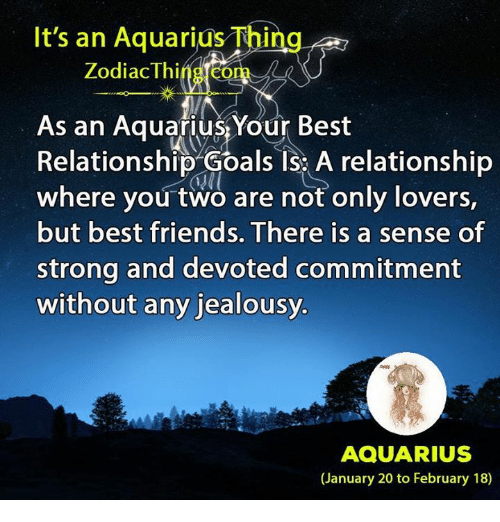 Friends, Goals, and Relationship Goals: It's an Aquarius Thing  ZodiacThineo  As an AquariusYour Best  Relationship Goals IS: A relationship  where you two are not only lovers,  but best friends. There is a sense of  strong and devoted commitment  without any jealousy.  AQUARIUS  (January 20 to February 18)