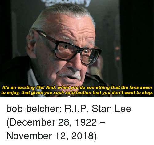 Life, Stan, and Stan Lee: It's an exciting life! And, when you do something that the fans seem  to enjoy, that gives you such satisfaction that you don't want to stop. bob-belcher:  R.I.P. Stan Lee (December 28, 1922 – November 12, 2018)