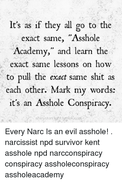 """Narcing: It's as if thev all go to the  exact same, """"Asshole  Academy,"""" and learn the  act same lessons on hovw  to pull the exact same shit as  each other. Mark my words:  it's an Asshole Conspiracy. Every Narc Is an evil asshole! . narcissist npd survivor kent asshole npd narcconspiracy conspiracy assholeconspiracy assholeacademy"""