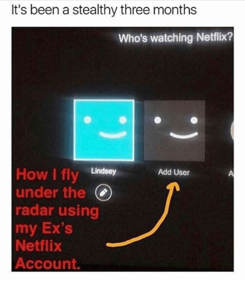 Radar: It's been a stealthy three months  Who's watching Netflix?  How I fly Lindsey  under the(  radar using  my Ex's  Netflix  Account.  Add User