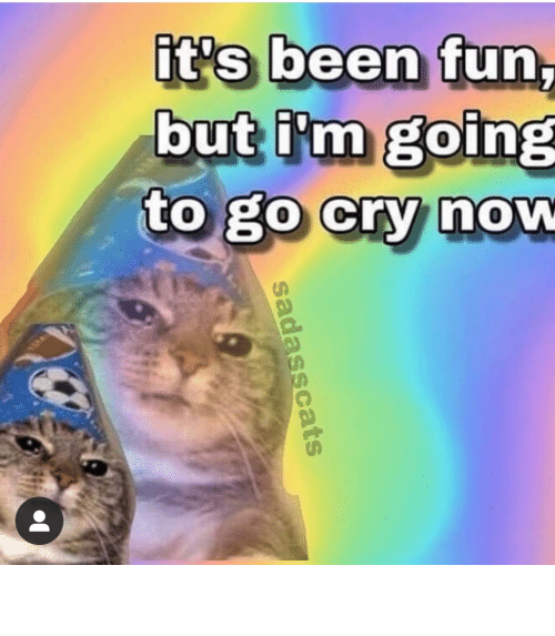 Going: it's been fun,  but i'm going  to go cry now  sadasscats meirl