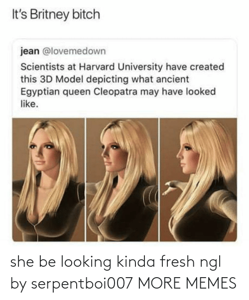 university: It's Britney bitch  jean @lovemedown  Scientists at Harvard University have created  this 3D Model depicting what ancient  Egyptian queen Cleopatra may have looked  like. she be looking kinda fresh ngl by serpentboi007 MORE MEMES