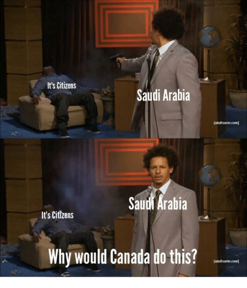Canada, Saudi Arabia, and Com: It's Citizens  Saudi Arabia  (adultswim.com  Saudi Arabia  It's Citizens  Why would Canada do this?  adultswim.com]