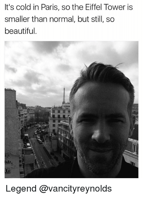 Eiffel Towered: It's cold in Paris, so the Eiffel Tower is  smaller than normal, but still, so  beautiful. Legend @vancityreynolds