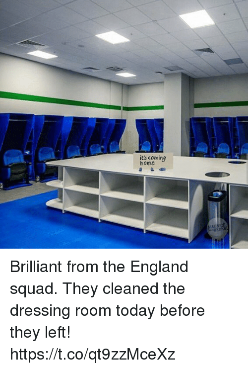 England, Soccer, and Squad: its coming  home Brilliant from the England squad. They cleaned the dressing room today before they left! https://t.co/qt9zzMceXz