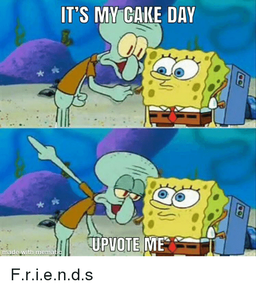 SpongeBob, Cake, and Day: IT'S MY CAKE DAY  UPVOTE MET  made with memat