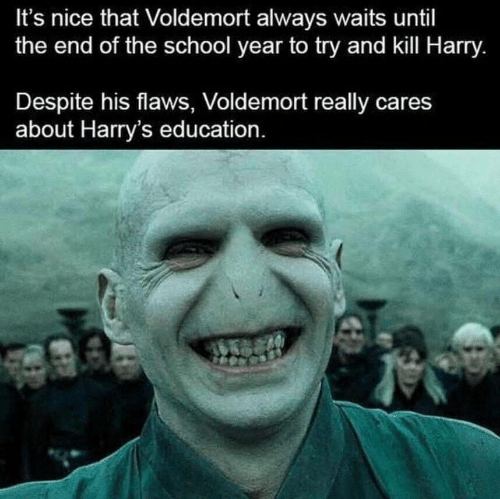 voldemort: It's nice that Voldemort always waits until  the end of the school year to try and kill Harry.  Despite his flaws, Voldemort really cares  about Harry's education.