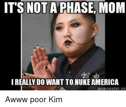 Meme, Dank Memes, and Mom: IT'S NOT A PHASE MOM  I REALLY DO WANT TO NUKEAMERICA  meme maker. De Awww poor Kim