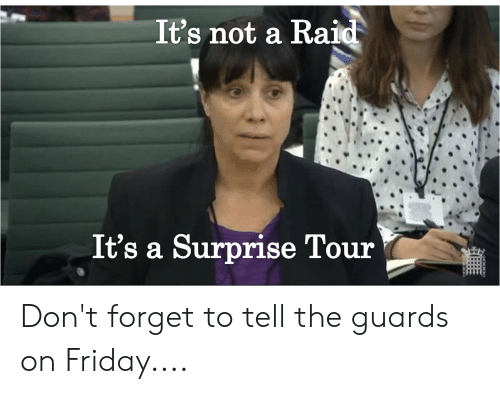 Friday, Reddit, and Raid: It's not a Raid  It's a Surprise Tour Don't forget to tell the guards on Friday....