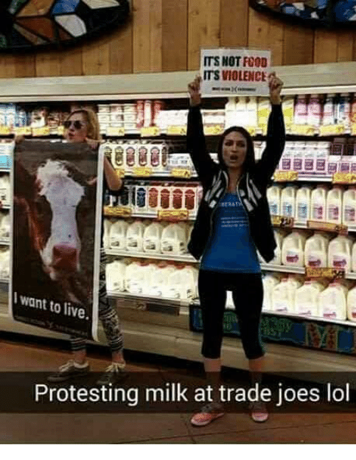 Protesting Milk: ITS NOT F000  ITS VIOLENCE  want to  live  Protesting milk at trade joes lol