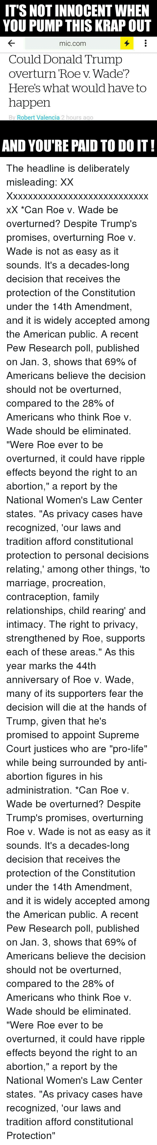 roe v wade research paper outline Roe v wade, (1973) 2 facts: roe was a single pregant woman representing a class action suit against a texas abortion law that argumentive paper on abortion.