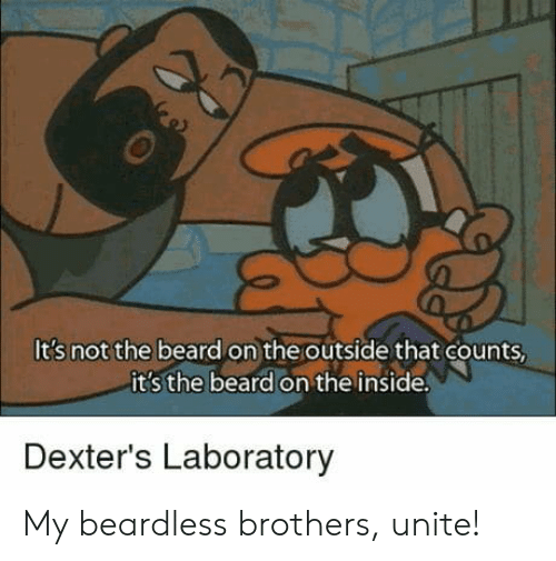 Laboratory: It's not the beard on the outside that counts  it s the beard on the inside  Dexter's Laboratory My beardless brothers, unite!