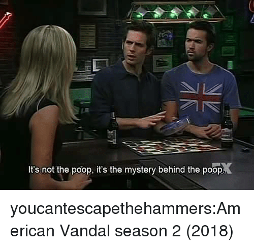 Poop, Tumblr, and American: It's not the poop, it's the mystery behind the poop. youcantescapethehammers:American Vandal season 2 (2018)