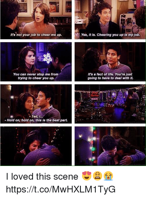 Cheers Me Up: It's not your job to cheer me up,  You can never stop me from  trying to cheer you up.  Ted, I  Hold on, hold on, this is the best part.  Yes, it is, Cheering you up is my job.  It's a fact of life, You're just  going to have to deal with it. I loved this scene 😍😩😭 https://t.co/MwHXLM1TyG