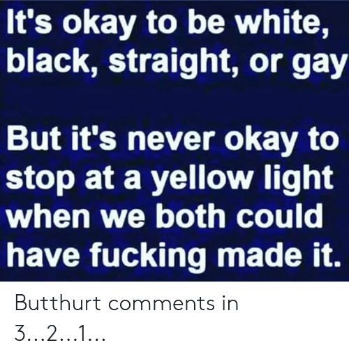 Butthurt, Dank, and Fucking: It's okay to be white,  black, straight, or gay  But it's never okay to  stop at a yellow light  when we both could  have fucking made it. Butthurt comments in 3...2...1...