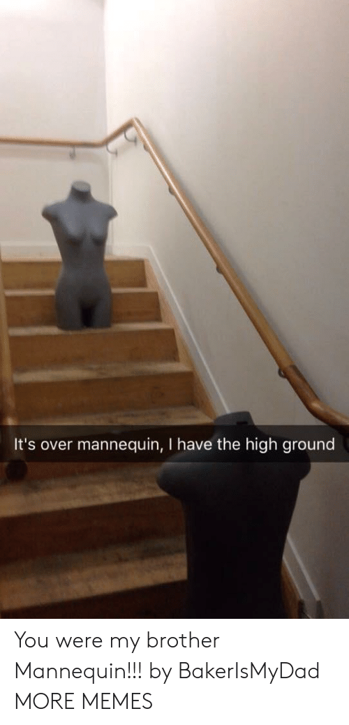 Mannequin: It's over mannequin, I have the high ground You were my brother Mannequin!!! by BakerIsMyDad MORE MEMES