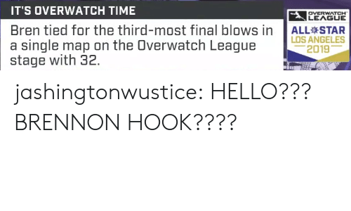 All Star, Hello, and Tumblr: IT'S OVERWATCH TIME  LEAGUE  OVERWATCH  Bren tied for the third-most final blows in  a single map on the Overwatch League  stage with 32.  ALL STAR  LOS ANGELES  2019 jashingtonwustice:  HELLO??? BRENNON HOOK????