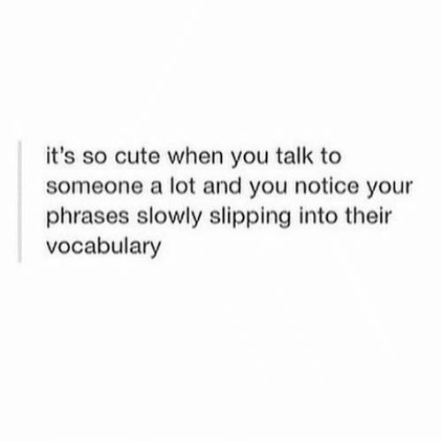Cute, You, and When You: it's so cute when you talk to  someone a lot and you notice your  phrases slowly slipping into their  vocabulary