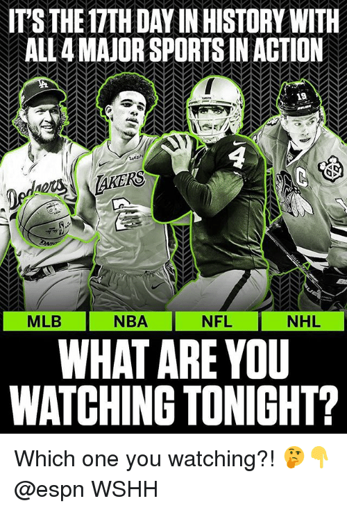 Espn, Memes, and Mlb: IT'S THE 17TH DAY IN HISTORY WITH  ALL 4 MAJOR SPORTS IN ACTION  19  uns  AKERS  NBA NFL  WHAT ARE YOU  WATCHING TONIGHT?  MLB  NHL Which one you watching?! 🤔👇 @espn WSHH